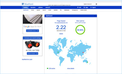 bluehost cloudsites dashboard