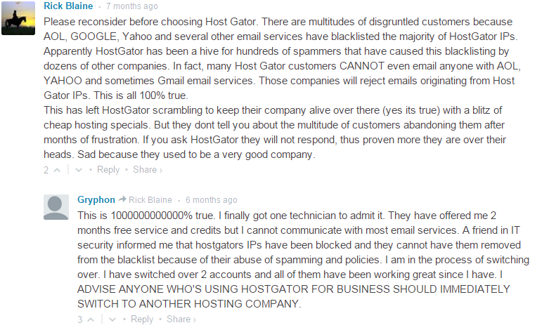 users comments about hostgator email service