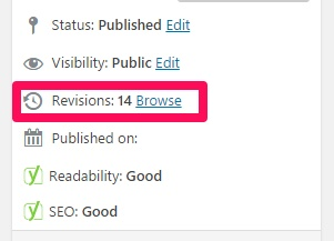 wordpress post revision