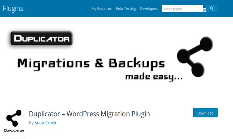 Duplicator WordPress Backup and restore plugin