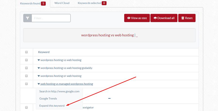 ubersuggest keyword tool